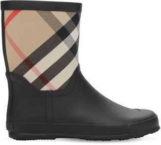 Burberry Check Rubber & Cotton Canvas Boots