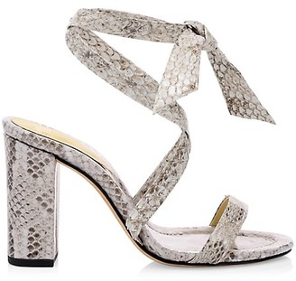 Alexandre Birman Katie Ankle-Wrap Snakeskin Sandals