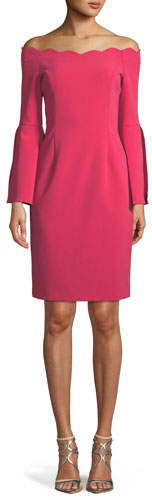 Rickie Freeman For Teri Jon Off-the-Shoulder Scallop Slit-Sleeve Dress