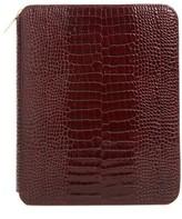 Smythson Mara Croc Embossed Zip Folder & A5 Notebook - Burgundy