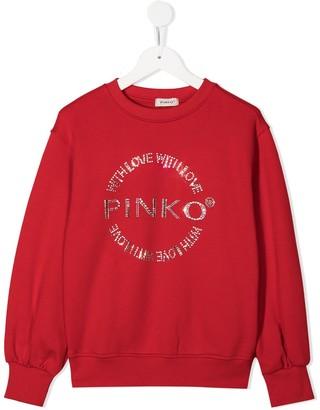 Pinko Kids Rhinestone Logo Sweater