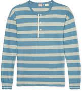 Levi's 1920s Sunset Striped Cotton And Linen-blend Henley T-shirt - Blue