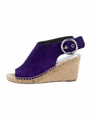 Celine Suede Whipstitch Trim Espadrilles Purple