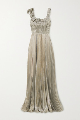 Oscar de la Renta Sequin-embellished Pleated Silk-blend Lame Gown - Silver