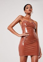 Missguided Mocha Vinyl Bandeau Mini Dress