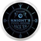 AdvPro Clock ncpz1155-b KNIGHT'S Social Club Bar Beer Pub LED Neon Sign Wall Clock