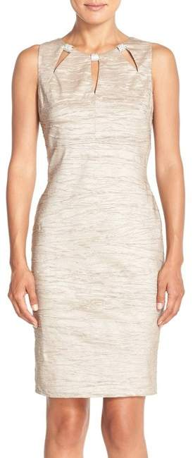 Embellished Cutout Taffeta Sheath Dress (Regular & Petite)