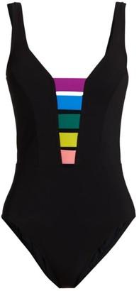 Karla Colletto Swim Juno V-Neck Multicolor Insert One-Piece Swimsuit