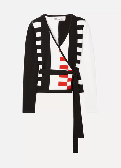 Diane von Furstenberg Ellis Intarsia-knit Wrap Cardigan - Black