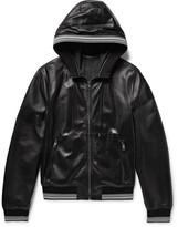Dolce & Gabbana Stripe-Trimmed Leather Hooded Bomber Jacket