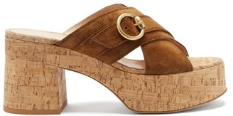 Gianvito Rossi Buckled Suede And Cork Platform Sandals - Brown