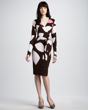 Diane von Furstenberg Richley Intarsia-Knit Wrap Dress