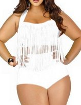 Spring fever for Women Plus Size Retro High Waist Braided Fringe Top Bikini Swimwear(,4XL)