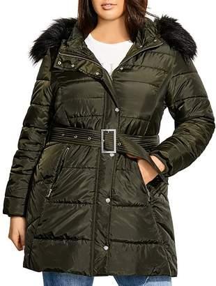 City Chic Plus Faux-Fur-Trim Puffer Jacket