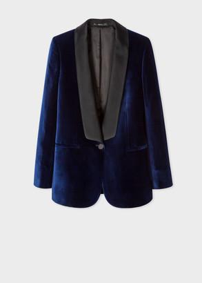 Paul Smith Women's Navy Velvet Tuxedo Blazer With Satin Shawl Collar