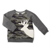 Mud Pie Boys Little Deer Camo Sweatshirt with Stag Deer Applique