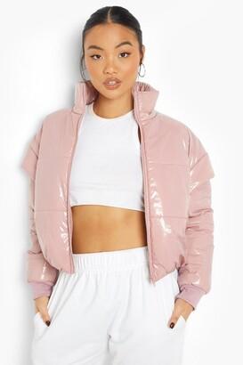 boohoo Petite High Shine Drop Shoulder Puffer Coat