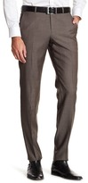 HUGO BOSS Leenon Flat Front Solid Wool Trousers