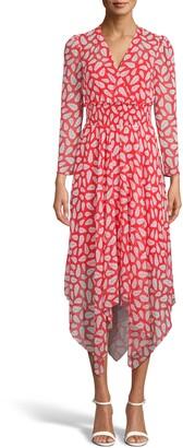 Anne Klein Print Handkerchief Hem Long Sleeve Dress