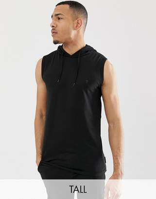French Connection Tall sleeveless hoodie-Black