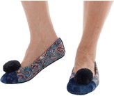 Bedroom Athletics Womens Melissa Pom Pom Paisley Slippers Navy Paisley
