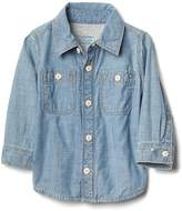 Gap Jersey-lining chambray shirt