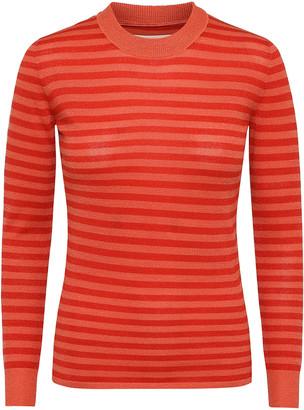 custommade Emberglow Woolen Acrylic Twiggy Stripes Pullover - 40 - Orange/Red