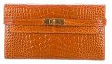 Hermes Shiny Alligator Kelly Longue Wallet