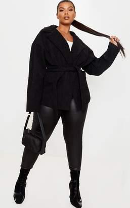 PrettyLittleThing Plus Black Cord Collar Tie Waist Jacket