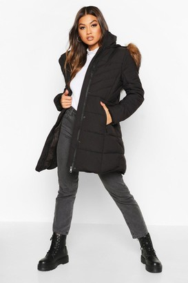 boohoo Faux Fur Trim Quilted Detail Parka Coat