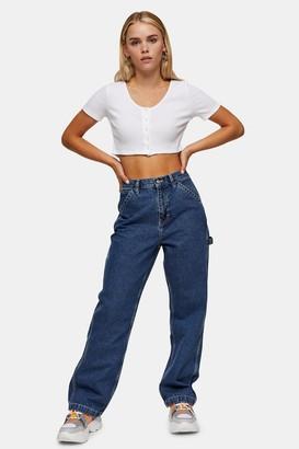 Topshop Womens Petite Mid Blue Carpenter Straight Jeans - Mid Stone