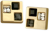 T Tahari Gold-Tone Multi-Crystal Square Stud Earrings