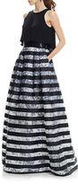 Theia Crop Top Striped Organza Dress