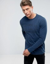 Abercrombie & Fitch Long Sleeve Top Slim Fit Logo In Navy