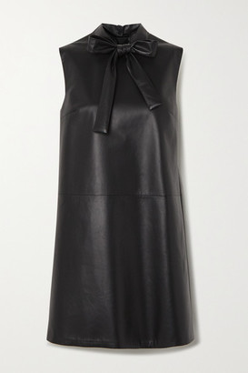 Prada Pussy-bow Leather Mini Dress - Black