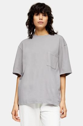 Topman Womens Considered Grey Organic Cotton Pocket T-Shirt - Grey