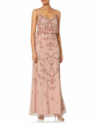Adrianna Papell Women's Colored Floral Beaded Blouson Gown