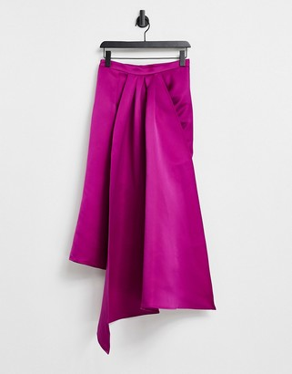 Virgos Lounge VL The Label wrap asymmetric midi skirt in hot pink