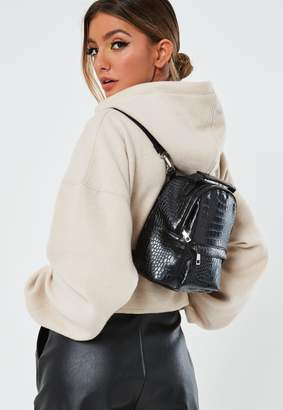 Missguided Black Faux Leather Croc Backpack