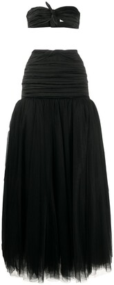 Alessandra Rich Ruched Strapless Top And Skirt Set