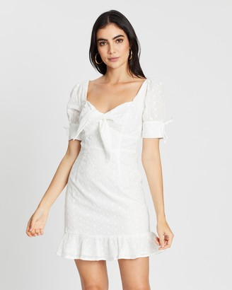boohoo Knot Front Broderie Anglaise Mini Dress