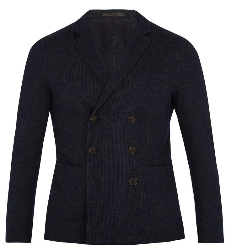 Giorgio Armani Pinstriped wool-blend double-breasted blazer