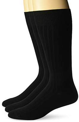Buttoned Down Amazon Brand Men's 3-Pack Premium Ribbed Soft Dress Socks