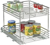 "Household Essentials Two-Tier Sliding Cabinet Organizer,Chrome,14.5""-Silver"