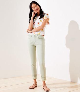 LOFT Eyelet Hem Slim Pocket Skinny Crop Jeans in Matcha Latte