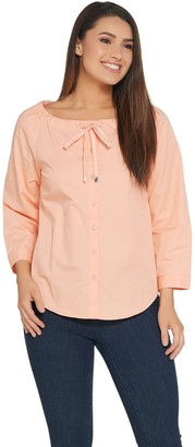 Linea by Louis Dell'Olio Peasant Blouse with Drawstring Detail