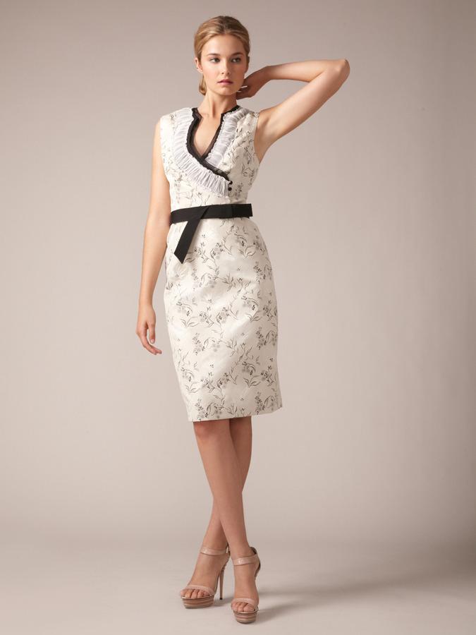 Carolina Herrera Silk Porcelain Flower Jacquard Dress