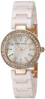 Anne Klein Women's AK/1986RGLP Swarovski Crystal Accented Light Pink Ceramic Bracelet Watch