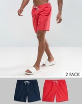 Asos Swim Shorts 2 Pack In Red And Navy In Mid Length