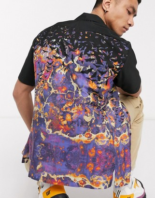 Blood Brother revere collar pocket shirt in all-over print